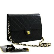 Small Chain Shoulder Bag Clutch Black Quilted Flap Lambskin D07