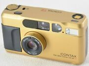 Contax T2 Gold Rare Model Carl Zeiss Sonnar 38mm F/2.8 Tested Working Ex++