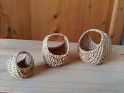 Vintage Hand Woven Baskets With Handle