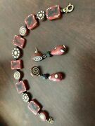 Southwest Aztec Style Bracelet And Earring Set Rust, Black And Tan And Cream.