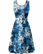Herou Women Summer Casual Floral Sleeveless A-line Sun Dresses Floral-05 Large