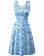 Herou Women Summer Casual Floral Sleeveless A-line Sun Dresses Floral-01 Large
