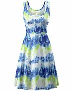 Herou Women Summer Casual Floral Sleeveless A-line Sun Dresses Floral-03 Large