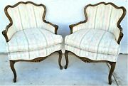 Vintage French Provincial Accent Club Chairs With Southwestern Fabric - A Pair