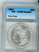 1894-p Morgan Silver Dollar Certified Icg Au58 Details Extremely Rare Looks Bu