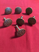 7 Small Cabinet Knobs Round Top Drawer Pull Hammered Copper And Black Tops