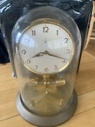 Vintage Junghans Ato Germany Brass Mantel Clock 10andrdquo Tall With Glass Dome