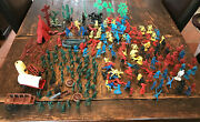 Vintage Plastic Toy Cowboys Indians Horses Soldiers Canoes And More Lot Of 220+