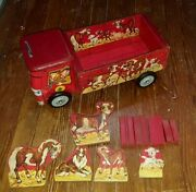 Gong Bell Cattle Truck With Animals Tin Litho And Wood Litho Nice Shape