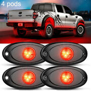 Red 4 Pods Led Rock Underbody Lights Crawlers For Jeep Offroad Truck Car Atv Utv