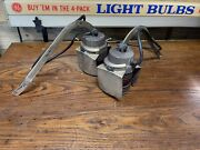 Vintage Pair Nautical Light Fixtures Swing Arm Electric Sconce Lights Red Glass