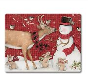 Whimsical Snowman And Deer Tempered Glass Small Cutting Board 10andrdquo X 8andrdquo Usa Made