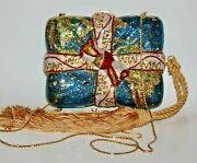 Judith Leiber World Map Gift Package Present Ribbon Bag Clutch