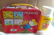 1976 Peanuts Metal Lunch Box And Thermos Comic Strip Cartoon Lunchbox