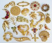 Vintage Gold Tone Brooch Pin Jewelry Lot Monet Kirkand039s Folly Coventry Many Signed