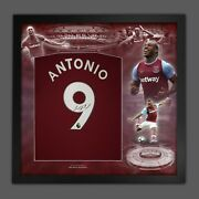 Michail Antonio Signed West Ham Football Shirt In Framed Picture Mount Display
