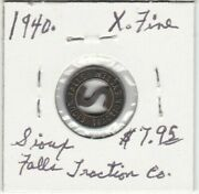 Token - Sioux Falls Traction System - G/f One City Fare - 1940 - X Fine
