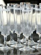 Baccarat Charming Antique Crystal Champagne Glasses Flutes - Set Of 12 - 19th