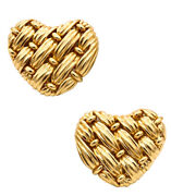 And Co. 18 Kt Gold Signature Series Woven Heart Rare Earrings Vintage