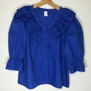 Vintage Plus Size Blue Prairie Peasant Blouse With Puff Sleeves And Ruffles - 2x