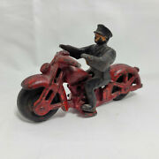 Vintage Rare Hubley Cast Iron Police Motorcycle 2230 W/ Officer Black Wheels
