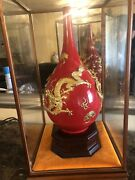 Chinese Red Glaze Gold Dragons Vase W/ Glass Enclosure 1