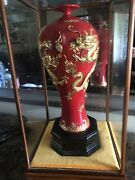 Chinese Red Glaze Gold Dragons Vase W/ Glass Enclosure 2