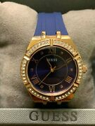 New Guess Authentic Womenand039s Blue Silicone Rose Gold Ip Ss Gw0034l4andnbsp