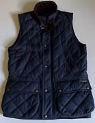 Polo Iconic Diamond Quilted Navy Blue Vest Mens Sm Corduroy Collar