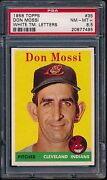 1958 Topps 35 Don Mossi White Team Letters Psa 8.5 Nm-mt+ Only 4 9's Indians