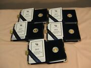 2012 1/10 Oz Proof Gold 5 American Eagle 5 Coin Lot All Gems In Orig. Cases