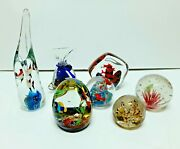 Lot Of 7 Vintage Art Glass Paperweights Murano India Sds 3 Signed