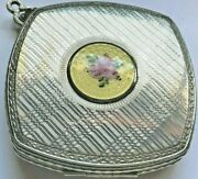 Antique Silver Toned Powder Compact With Guilloche Designs Front And Back