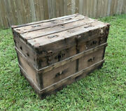 Antique Wooden Steamer Trunk Chest Rustic Vintage Victorian Flat Top Style