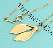 And Co. Whale Tail Leaf Necklace 16 18k Yellow Gold Peretti Auth W/bag D3