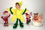 Annalee Lot Elf/elves Santa In Slippers,candy Cane,ornament,star, Angel And Devil