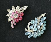 2 Sparkling Vintage Signed Eisenberg Ice Brooches - Desirable Pink And Blue