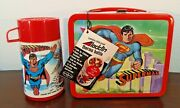1978 Vinage Aladdin Superman Lunchbox And Thermos C-9 Near Mint Tag