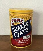 Vintage Yellow Pure Quaker Rolled White Oats Tin 1984 8x5 With Coupons