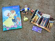 Lot Of 5 Disney's Beauty And The Beast Book, 3 Figurines And Fold-out Scene