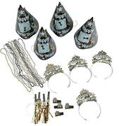 Happy New Year 63-pc Party Kits Clock Night Hats Tiaras Beads Blowers For 25-ppl