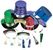Colorful Happy New Year 100-pc Party Favors Noisemakers Hats Tiaras For 50-ppl