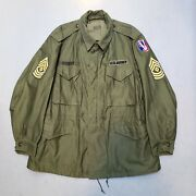 Vtg 50s Korean War M-51 Us Army Military Field Coat Jacket W Patches Sz L Nice