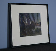 French Mill - Night | Original Gouache Painting On Paper - Framed. Farm / Sheep