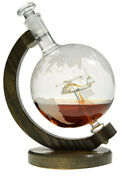 Helicopter - Helicopter Within Etched Globe Liquor Decanter - Scotch Whiskey