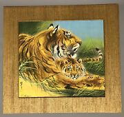 A Vintage Japanese Painting Of Tigers Paint On Fabric By J. Aoki