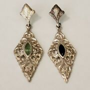 2- 1800s Victorian Dangle- Rare Pure Silver And Gemstone Earrings