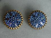 Rare Vintage Signed Hobe Blue Irridescent Glass Button Style Clip On Earrings