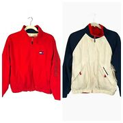 Vintage Full Zip Reversible Jacket Size L Red White And Blue