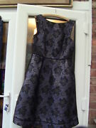 Oasis Size 12 Blue Dress With Black And Silver Textured Flowers Brand New